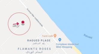 A vendre terrain nu 623 m2 belle situation à Raoued Plage (شط مفتوح).
