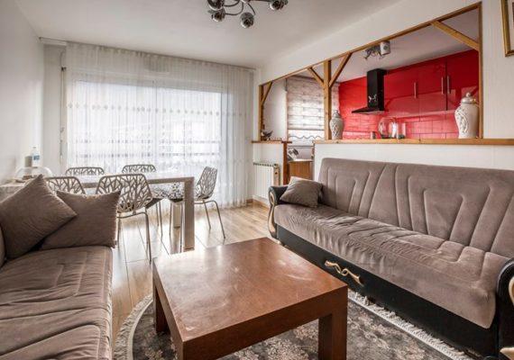 CLUSES – Dans une résidence de standing venez découvrir ce joli appartement de type 3 comprenant une pièce de vie avec cuisine ouverte type américaine, deux chambres, salle de bain, WC.