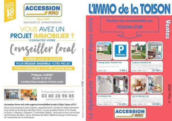 L'IMMO de la TOISON (1er Trim 2020) = votre Magazine Immobilier dédié au Quartier * Dijon TOISON D'OR *
