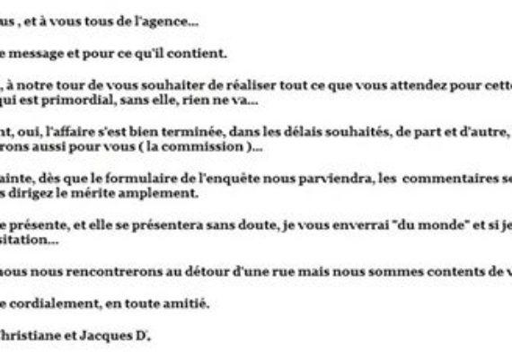 Un grand Merci à Christiane et Jacques D. qui ont fait confiance à l'agence istra pour la vente de leur appartement à Nice, dans le quartier de la Madeleine, et qui ont écrit ce très gentil message …