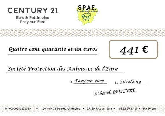 Après 1 an de partenariat nous sommes fiers d'avoir reversé 441€ au profit de la SPAE Evreux grâce à toutes nos transactions réalisées en 2019