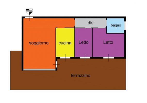 Appartamento sito in residence recintato, ottime condizioni,finemente ristrutturato. Le superfici esterne di mq 50 creano una comoda e luminosa loggia . Suddiviso in salone/tinello,cucinotto abitabile,due camere da letto e bagno. Completa l' offerta un box di mq 20 e una cantina di 30. € 160.000,00