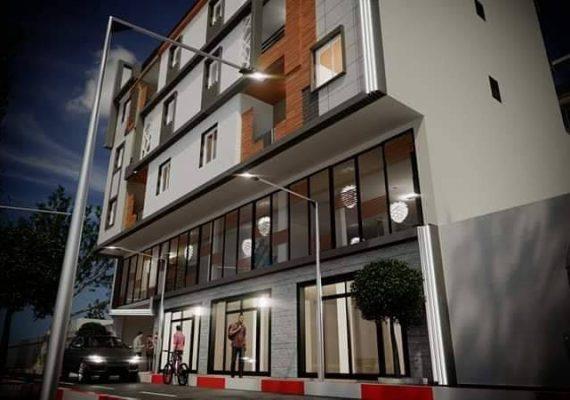 الشقق المتبقية في مشروع الجديد بإقامة المنال متكونة من ثلاث طوابق مع مصعد كهربائي و مكان ركن السيارة في الطابق الأرضي ببلدية قورصو)Centre ville .