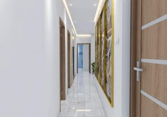 Aperçu de l'entrée, de la cuisine, de la salle de bain et des chambres après réalisation des appartements.