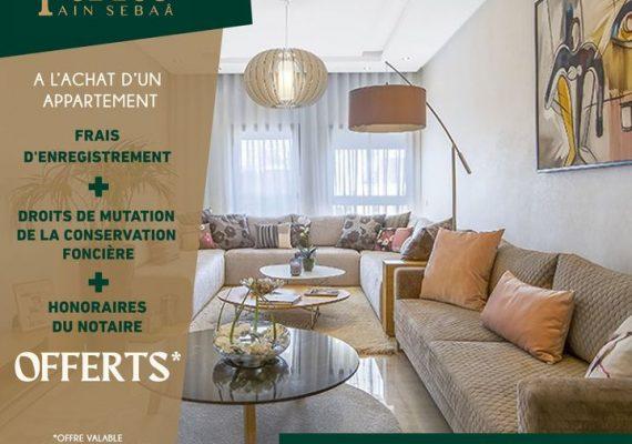 ✨ A l'achat d'un appartement, les frais d'enregistrement, les droits de mutation de la conservation foncière et les honoraires du notaire vous seront OFFERTS*!!