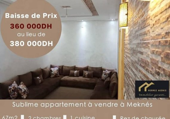 HERMEZ APPART vous propose un très bel appartement de 67m2 neuf et bien fini à Meknés