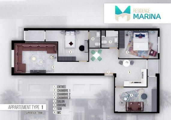 La résidence Marina R+4 situé en plein cœur de NADOR (hay al matar ) vous propose des appartements de deux à trois chambres avec salon et deux salles de bains cuisine équipée , aux surfaces variant de 61 à 99 m ², tout a été pensé dans les moindres détails, qualité des matériaux, qualité des équipements offerts ….