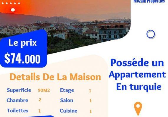 Appartement , A vendre à #Fethiye juste a 74.000 dollar