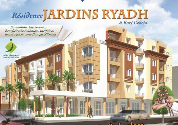 Pour votre confort et bien être, la Société de Promotion Immobilière LA FAMILLE vous propose des appartements haut standing S+1, S+2 et S+3 dans sa résidence Jardins Riadh, situé sur le Boulevard de Tunis à Borj Cedria.
