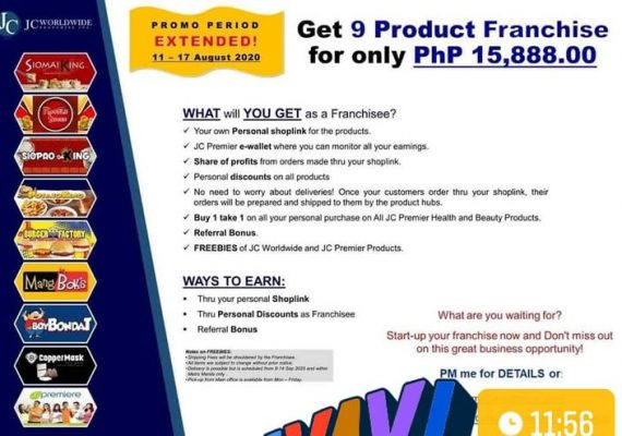 Get 9 Franchise Products for only Php15,888.00 within promo period of 11-17 August 2020!